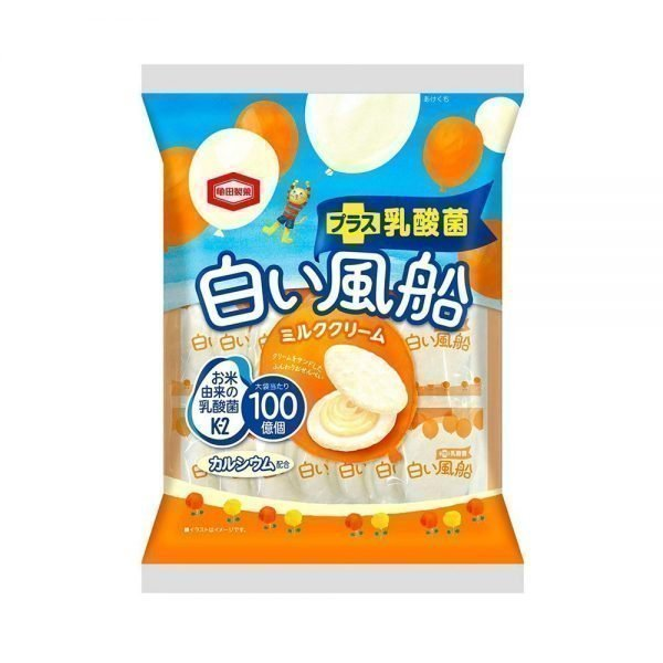 KAMEDA Confectionery White Balloon Milk Cream Rice Crackers Made in Japan