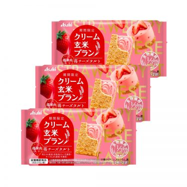 ASAHI Cream Brown Rice Blanc Strawberry Healthy Snacks Made in Japan