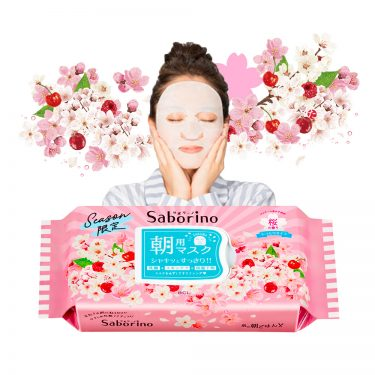 SABORINO Morning Face Masks Sakura Cherry Fragrance Moist Type Limited Edition Made in Japan